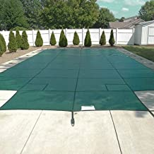 Happybuy Pool Safety Cover 18x36ft Inground Safety Pool Cover Green Mesh with 4x8ft Center End Steps Solid Pool Safety Cov...