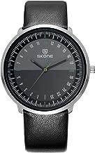Skone Mens Casual Luxury Modern Sports Black Leather Quartz Watches