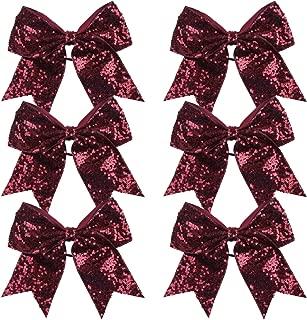 Metallic Sequin and Holographic 8 Inch Cheer Bow Cheerleader Cheerleading Jumbo Cheer Bow Hair Tie(Maroon Sequin)