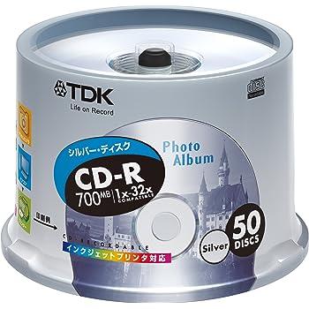 TDK CD-Rデータ用 32倍速対応シルバープリンタブル ポットケース入り50枚パック [CD-R80ESX50PS]