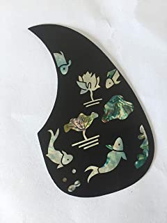 Custom New Great-quality Teardrop Shape Acoustic Guitar Pickguard (Lotus And Fish Pattern)