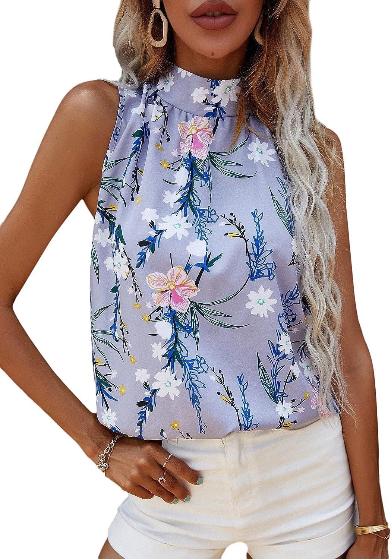 Milumia Women's Elegant Sleeveless Halter Tank Top Off The Shoulder Tunic Blouse