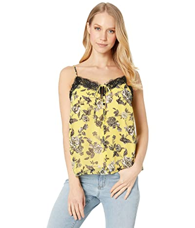 kensie Romantic Rose Cami with Lace Inset KS6K4814 (Canary Combo) Women