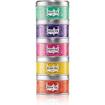 Kusmi Tea - Coffret de 5 Miniatures Les Bien-Être - Assortiment Thés Aromatisés et Infusion- Thé Detox, BB Detox, Boost, Sweet Love et Infusion Be Cool - Boîtes à Thé en Métal 5x25gr