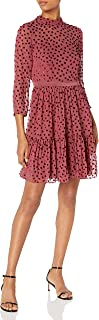 Rebecca Taylor womens Long Sleeve Velvet polka Dot Mini Dress Dress