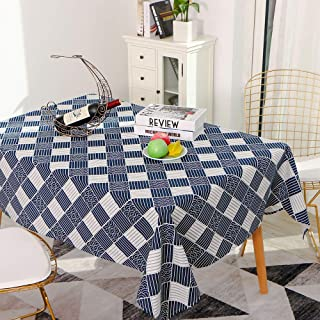 Decdeal Tablecloth Rectangle Table Cloth Cotton Linen Wrinkle Free Anti Fading Tablecloths Washable Dust Proof Table Cover...