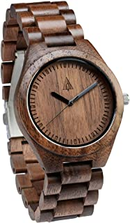 Treehut Men's Walnut Wooden Watch with All Wood Strap Quartz Analog with Quality Miyota Movement
