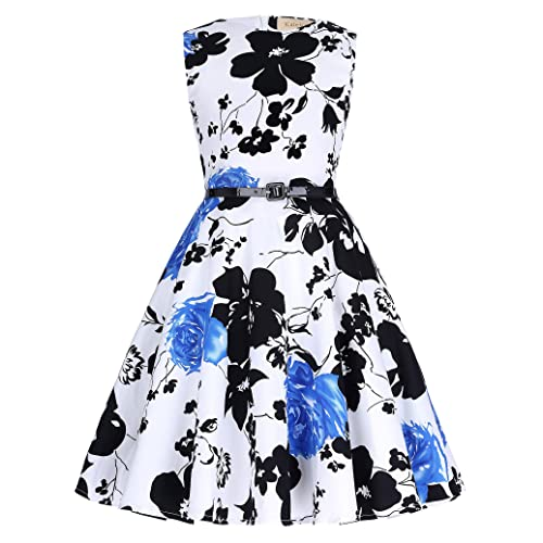 6697595982bbb Kate Kasin Girls Sleeveless Vintage Print Swing Party Dresses 6-15 Years