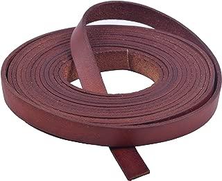 KONMAY 3 Meters 10.0x2.0mm Reddish Brown Soft Flat Genuine/Real Cowhide Leather Lacing Strips