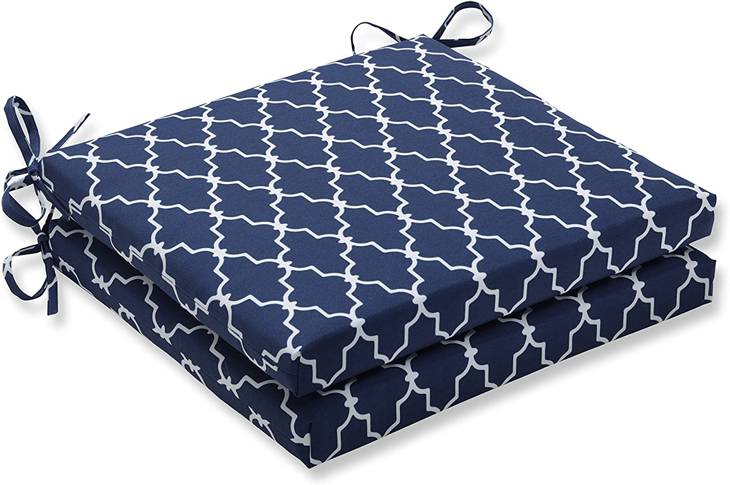 Pillow Perfect Outdoor Indoor Garden Gate Squared Corners Seat Cushion (Set of 2), Navy, bluee, 20 in. L X 20 in. W X 3 in. D