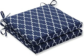 Pillow Perfect Outdoor/Indoor Garden Gate Navy Squared Corners Seat Cushion 20x20x3 (Set of 2)