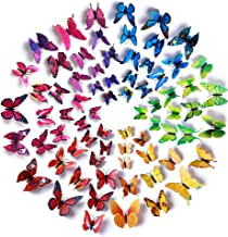 Amaonm 72 Pcs 6 Packages Beautiful 3D Butterfly Wall Decals Removable DIY Home..