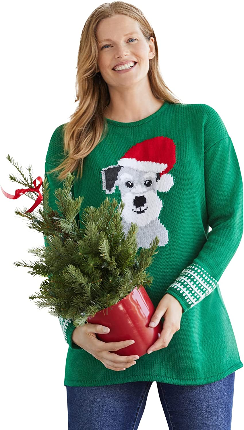 Woman Within Women's Plus Size Holiday Pullover Sweater