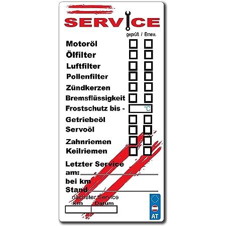 Embroidery King 108 X Service Aufkleber Inspektion Oelwechsel Frostschutz Austria Flag Sticker Auto Motorrad Pick Up 100 X 48 Mm Auto