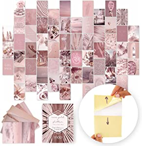 SNAP Wall Art, PEEL-N-STICK Photo Wall Collage Kit Aesthetic Pictures. 60x 4x6 Rose Gold and Glitter Prints for Pink Picture Wall. Teen Room Decor, VSCO Trendy Room Decor Photos, Boho Decor… (Pink)