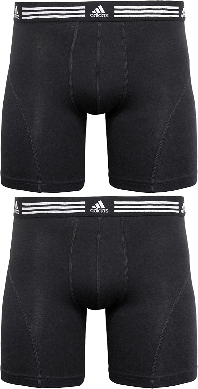 adidas Men's Athletic Stretch Boxer Brief Underwear (2-Pack), Black/Black Black/Black, XX-LARGE