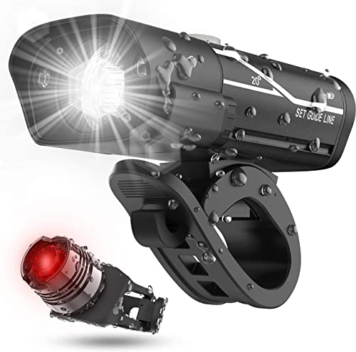 [Latest 2020] USB Rechargeable Super Bike Headlight and Back Light Set, Runtime 10+ Hours 600 Lumen Bright Front Ligh...