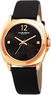 Akribos Xxiv Women's Black Dial Leather Band Watch - Ak902Bk, Analog Display