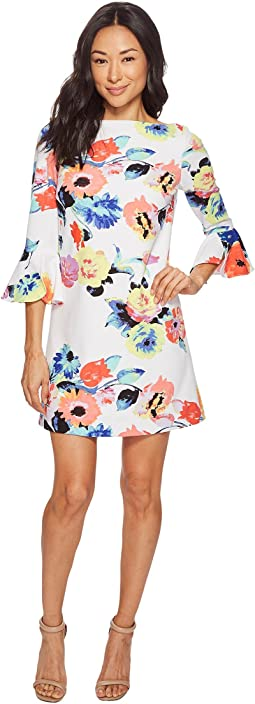 Petite Trumpet Sleeve Floral Shift Dress