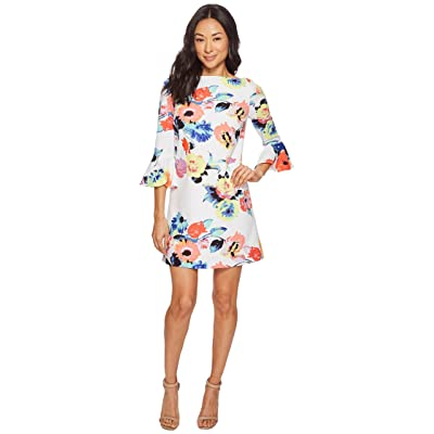 Tahari by ASL Petite Trumpet Sleeve Floral Shift Dress (Ivory/Coral/Lilac) Women