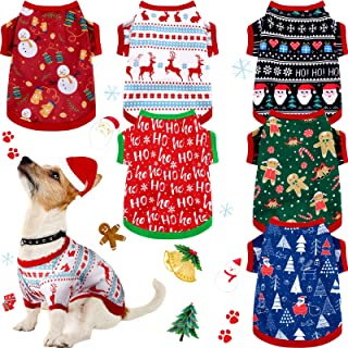 6 Pieces Christmas Dog Clothes Pet Shirts Breathable Puppy Vest Printed Christmas Snowman Reindeer Santa Claus Dog Shirts ...