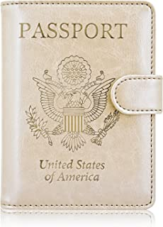ACdream Leather Passport Holder [Bonus Stylus] Cover Case RFID Blocking Travel Wallet with Magnet Closure, Gold