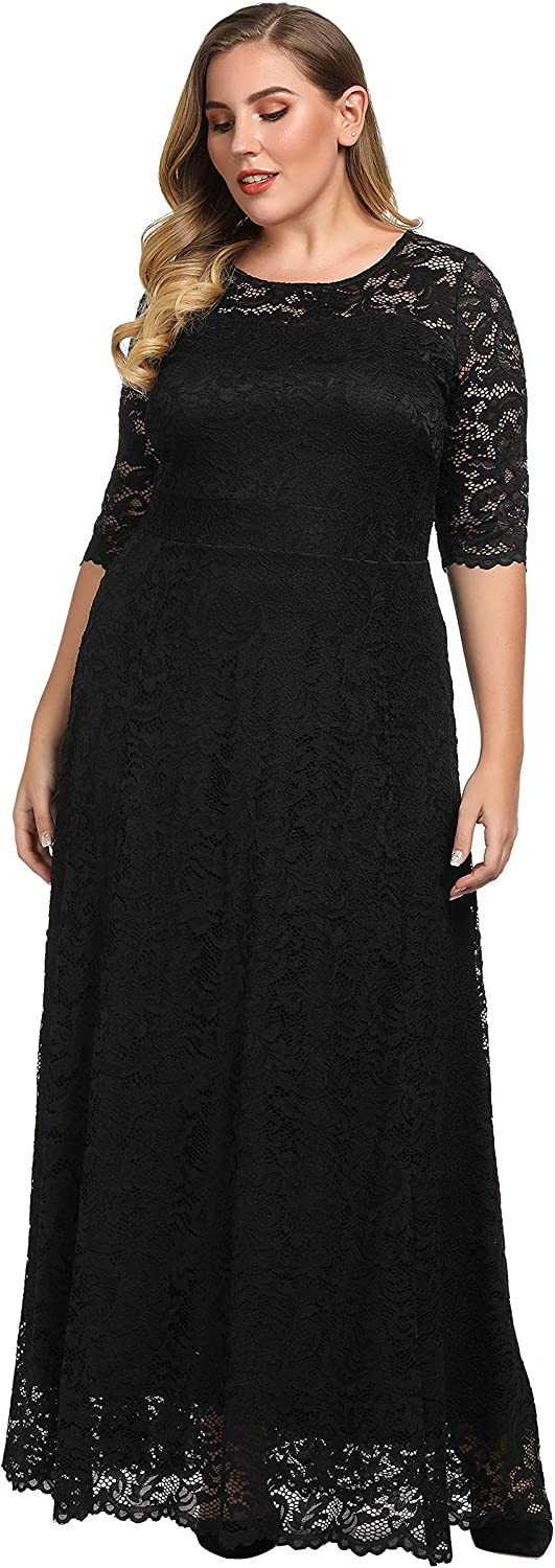 Chicwe Women's Plus Size Stretch Lined Scalloped Lace Maxi Dress - Evening Wedding Party Cocktail Dress