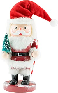 Clever Creations Animated Wooden Santa Nutcracker | Cute Santa Holding a Tiny Tree and Candy Cane While Standing on a Maroon Base | Perfect Christmas Holiday Decor | Stands at 11