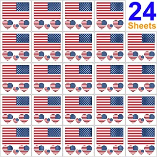 24 Sheets United States of America Flag Temporary Tattoo Face Decal Body Art Stickers for USA July 4th Independence Day American Patriotic Party Favors