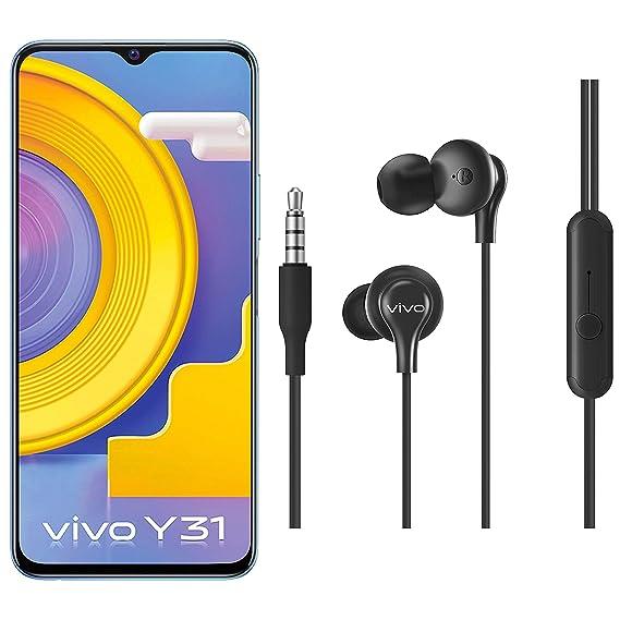 Vivo Y31 (Ocean Blue, 6GB RAM, 128GB RAB) + vivo Color Wired Earphones with Mic and 3.5mm Jack (Black)