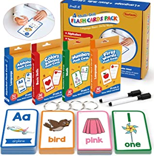 Alphabet Flash Cards for Toddlers-FlashCards Set of 4-Numbers,Alphabets,First Words,Colors&Shapes,Kindergarten Kids Cards Toddler Learning Activities(Upgraded Version for Tracing Letters and Numbers)