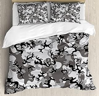 Ambesonne Camo Duvet Cover Set, Camouflage Concept Concealment Artifice Hiding Force Uniform Pattern Fashion, Decorative 3 Piece Bedding Set with 2 Pillow Shams, Queen Size, Grey Black