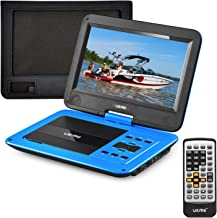 UEME DVD Player Portable with HD 10.1 Inches Swivel LCD Screen, Car Headrest Mount Holder, Remote Control, Personal DVD Player with Rechargeable Battery (Blue)