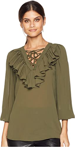Ruffle Tie-Up Detail Blouse