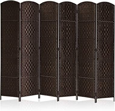 """Rose Home Fashion RHF 6 ft.Tall-15.7"""" Wide Diamond Weave Fiber 6 Panels Room Divider/6 Panels Screen Folding Privacy Part"""