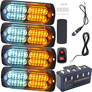 Led Warning Lights, 4pcs Emergency Warning Caution Hazard Construction Ultra Slim Sync Feature Car Truck with Main Control...