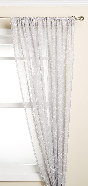 LORRAINE HOME FASHIONS Irvine Tailored Window Curtain Panel, 52 x 84, White on Gray