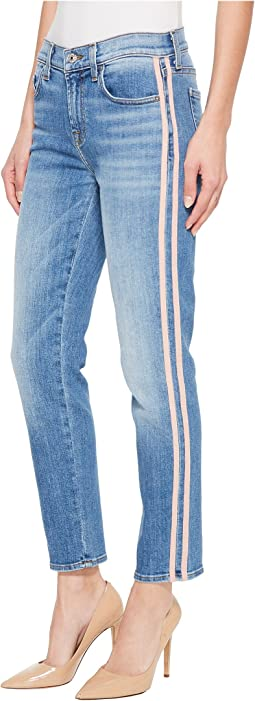7 For All Mankind Roxanne Ankle w/ Pink Faux Suede Stripes in Vintage Blue Dunes