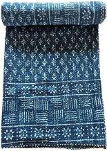 My Craft Palace Blue Indigo Queen Size Kantha Quilt Vintage Handmade Indigo Print Kantha Bedspread