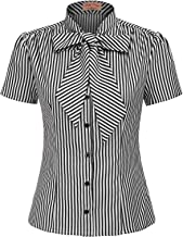 Belle Poque Summer Short Sleeve Office Button Down Blouse Stripe Shirt Tops with Bow Tie BP573