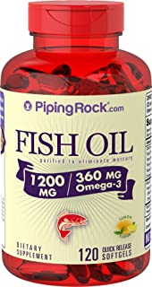 Piping Rock Fish Oil 1200 mg with 360 mg of Omega-3, 120 Quick Release Capsules Dietary Supplement