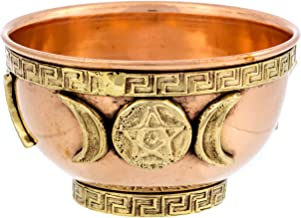 Alternative Imagination Triple Moon Copper Offering Bowl for Altar Use, Rituals, Incense, Smudging, Decoration, and More