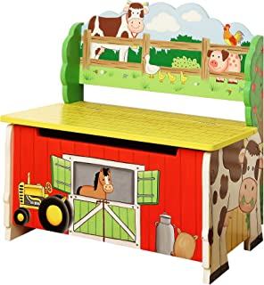 Fantasy Fields - Happy Farm Animals Thematic Kids Storage Bench    Imagination Inspiring Hand Crafted & Hand Painted Details   Non-Toxic, Lead Free Water-based Paint