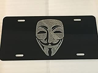 Diamond Etched Anonymous Mask Logo Logo Car Tag on Black Aluminum License Plate