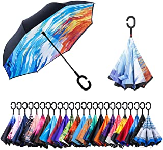 AmaGo Double Layer Inverted Umbrella with C-Shape Handle and Carrying Bag Upside-Down Windproof UV Protection Reverse Umbrella for Car Outdoor