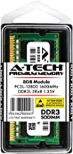 A-Tech 8GB DDR3/DDR3L 1600MHz PC3L-12800 2Rx8 1.35V CL11 Non ECC Unbuffered Low Voltage 204 Pin SODIMM Laptop Notebook Computer Memory Ram Upgrade