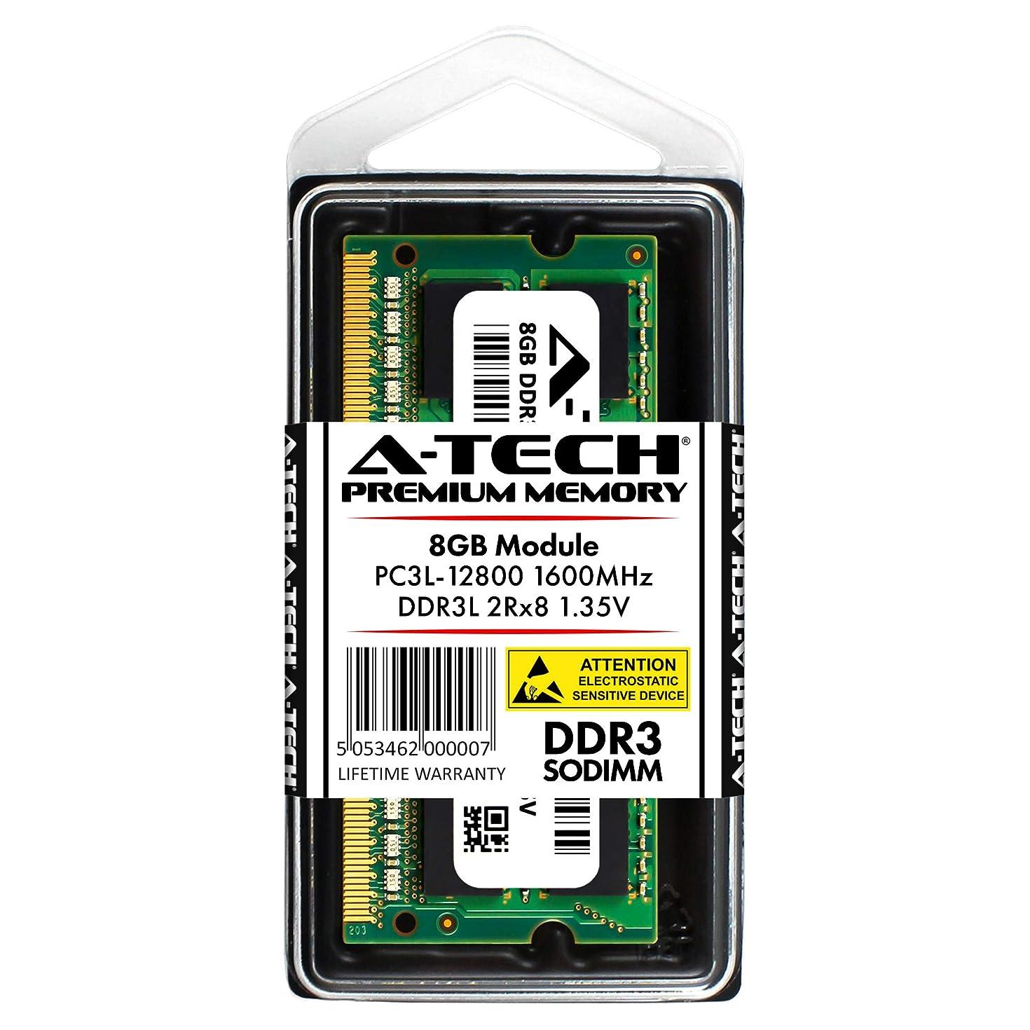 A-Tech 8GB DDR3/DDR3L 1600MHz PC3L-12800 2Rx8 1.35V CL11 Non ECC Unbuffered Low Voltage 204 Pin SODIMM Laptop Notebook Computer Memory Ram Upgrade