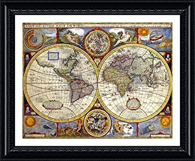 Alonline Art - Antique Old Vintage V1 World Map Black Framed Poster (Print on 100