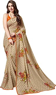 Women's Chiffon Floral Printed Casual Wear Indian Ethnic Saree With Unstitched Blouse Piece