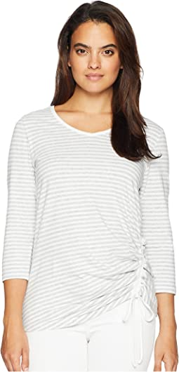 3/4 Sleeve V-Neck with Rouch Side Front